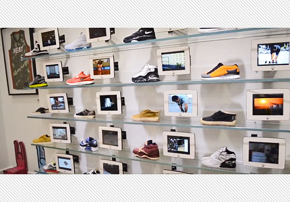 82bfe76b723 Here s a shot of Lebron James s Unknwn shoe display in Miami. Those are  Armor s iPad enclosures.