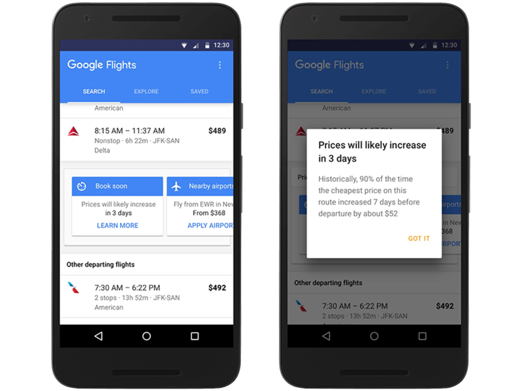 Google Flights now alerts you to price increases
